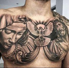 60 Jesus Tattoo Designs For Men - Religious Ink Ideas - Tattoos - tatouage Cool Chest Tattoos, Chest Piece Tattoos, Dope Tattoos, Best Sleeve Tattoos, Tattoo Sleeve Designs, Trendy Tattoos, Tattoo Designs Men, Body Art Tattoos, Men Tattoos
