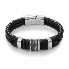 Cheap bangle men, Buy Quality men bangle directly from China vintage gifts Suppliers: Jiayiqi 2017 Fashion Black Braid Woven Leather Bracelet Titanium Stainless Steel Bracelet Men Bangle Men Jewelry Vintage Gift Hook Bracelet, Bracelet Men, Stackable Bracelets, Bracelets For Men, Fashion Bracelets, Leather Bracelets, Charm Bracelets, Fashion Jewelry, Men Accessories