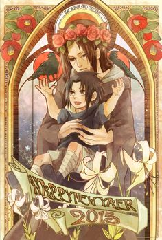 Itachi and Sasuke - Happy New Year 2015 - by Pixiv Id 2655959