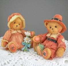 Cherished Teddies Figures Pilgrim Bears Vintage 1993 Thanksgiving Decor Collectible Bears Holiday Home Decor Bear Figurines