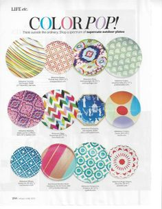 colorful outdoor plates featured in inStyle (June 2013)