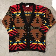f594bba2b94 Vintage Keren Aztec Southwestern Grandpa Cardigan Funky Large