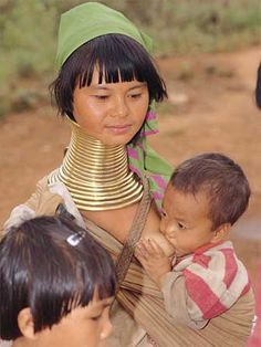Padaung mother breastfeeding