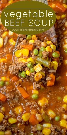 Vegetable Beef Soup only needs one pot and 30 minutes. Ground beef, frozen vegetables, tomato sauce, beef broth, and a couple surprise ingredients. Beef Soup Recipes, Vegetable Soup Recipes, Chili Recipes With Beef, Recipes With Tomato Soup, Recipes Using Beef Broth, Best Hamburger Soup Recipe, Frozen Mixed Vegetable Recipes, Quick Vegetable Soup, Hamburger Crockpot Recipes