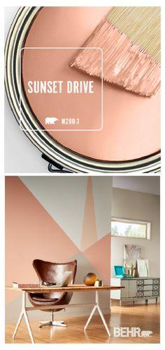 Peach Paint Colors, Office Paint Colors, Bathroom Paint Colors, Wall Colors, Stain Colors, Pink Accent Walls, Peach Walls, Accent Wall Bedroom, Accent Colors