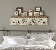 Pottery-Barn-Architectural-Carved-Panel-Wall-Shelf-Ledge-Antique-White-New-Box