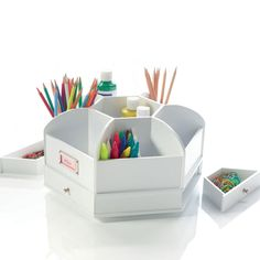 Spinning Desk Organiser - This is a marvellous gadget for the art table or desk.  It's nice and solid, with lots of different compartments and drawers for all their stationery, pens and pencils.