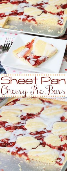 Sheet Pan Cherry Pie Bars - perfect for a crowd! A sweet crust topped with cherry pie filling and a vanilla glaze, this dessert recipe is delicious!