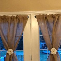 Natural burlap valance country farmhouse kitchen living cafe curtain swag panel jute ties custom width available Burlap Shower Curtains, Burlap Valance, Cafe Curtains, Drapes Curtains, Burlap Fabric, French Doors Bedroom, French Door Curtains, French Doors Patio, Country Kitchen Farmhouse
