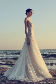 christos costarellos fall 2017 bridal sleeves deep v neck heavily embellished bodice tulle skirt romantic sexy a line wedding dress low back sweep train (49) mv