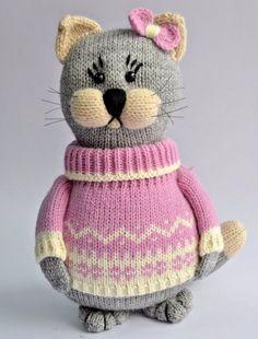Knitted animals toy stuffed handmade cat doll soft children 9.5in #Handmade
