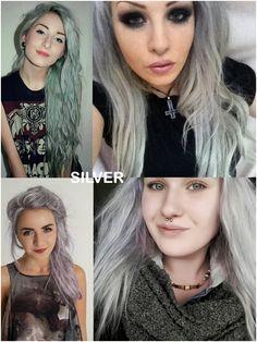 Coloring hair balsam - Silver gray #haircolor #brighthair #directions #lariche #gothichair #hairfashion #hairspiration #gothichairstyle #coloredhair #hairdye #hairdye #brighthair #girlwithdyedhair   Fantasmagoria.eu - Gothic Fashion boutique Gothic Hairstyles, Permed Hairstyles, Yellow Hair, White Hair, Semi Permanent Hair Dye, Bleaching Your Hair, Synthetic Hair Extensions, Bright Hair, Bleached Hair