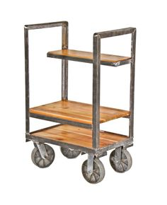 vintage modified american heavy gauge angled steel mobile multi-purpose supply cart with cast aluminum treaded wheels Nest Furniture, Iron Furniture, Repurposed Furniture, Industrial Furniture, Vintage Industrial, Office Furniture, Rustic Irons, Furniture Factory, Architectural Antiques