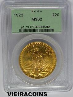 1922   SAINT-GAUDENS  $20  GOLD  - Double Eagle  -   PCGS  MS 62    -   #5206