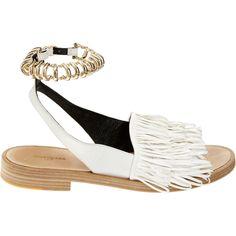 2014 BALENCIAGA Tassel Fringe Leather Silver Chain Track Sandals Flats Shoes 38 #Balenciaga #AnkleStrap