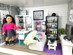 American Girl Doll Living/Study Room - YouTube