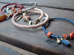 bolo cord bracelets with charms and jasper.