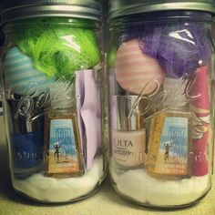 Spa day in a jar! Great gift idea! Large wide mouth mason jar, filled with: cotton balls, travel sized nail polish remover, travel sized hand lotion, 2 mini hand sanitizers, nail polish, facial mud mask, eos lip balm, and a loofah!
