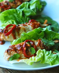 Golden Coin Chicken-and-Shrimp Skewers with Peanut Sauce #recipe
