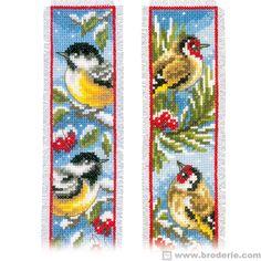 2 marque-pages oiseaux en hiver