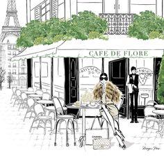 Megan Hess Illustrations From my PARIS book. One of my favorite cafes. Megan Hess Illustration, Paris Illustration, Coffee Illustration, Kerrie Hess, Model Sketch, Parisian Cafe, Paris Mode, Arte Disney, Sketch Inspiration