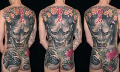AKIRA - back piece Hannya mask tattoo
