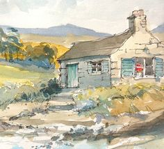 wee cottage in Scotland - pen and wash.