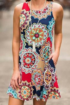 SimpleFun Women's Summer Sleeveless Bohemian Print Tunic Swing Loose Pockets T-Shirt Dress SimpleFun Women's Summer Sleeveless Bohemian Print Tunic Swing Loose Pockets T-Shirt Dress, Plus Size Maxi Dresses, Casual Dresses, Fashion Dresses, Short Sleeve Dresses, Summer Dresses, Mini Dresses, Floral Dresses, Pretty Dresses, Dress Outfits