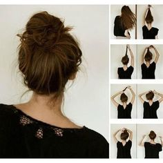 The french bun. Also known as the dancer's secret to a perfect messy bun. I've always wanted to achieve the perfect messy bun. My Hairstyle, Pretty Hairstyles, Easy Hairstyles, Hair Updo, Grunge Hairstyles, Hairstyle Ideas, Hairstyle Photos, Perfect Hairstyle, Korean Hairstyles