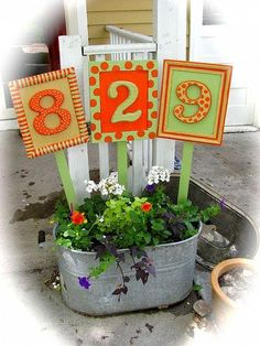 Creative Ideas for Displaying Your Home Address.. DIY this one is number 12. House numbers in planter