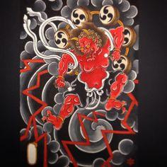 @soulrebelraimon Japanese Art Styles, Japanese Artwork, Traditional Japanese Tattoos, Japanese Tattoo Designs, Japanese Prints, Raijin Tattoo, Oni Tattoo, Tattoo Ink, Hand Tattoos