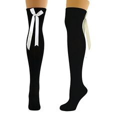 Comfortable Ladies Formal Casual Black With White Ribbon Bow Over The Knee Cotton Socks SOCKS http://www.amazon.co.uk/dp/B00E8DC2IS/ref=cm_sw_r_pi_dp_7CEwwb19V3ERS