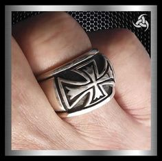 ab92cd9c2c9 Mens Biker Ring Sterling Silver Knights Templar Cross Size 9.25