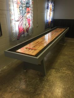 Built a Shuffleboard Table (x-post from r/woodworking) Outdoor Pool Table, Pool Tables, Buy A Pool, Shuffleboard Table, Play Pool, Table Games, Diy Table, Game Room, Home Projects