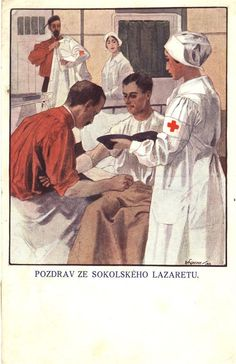 A greeting card from Sokol Hospital showing a nurse and doctor tending to a soldier, Czechoslovakia (today Czech Republic), 1919. Pictures of Nursing: The Zwerdling Postcard Collection. National Library of Medicine