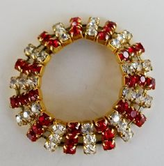 Vintage Red Clear Rhinestone Gold Tone Collar Necklace Bracelet  Doll Jewelry