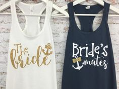 Nautical Bridal Tanks, Brides Mates, Brides Crew Tank, Bridesmaid Tank Top, Bridesmaid Tanks, Bridal Party Shirts  Prepare for your wedding