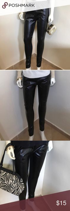 Jessica Simpson Pleather Stretch Leggings M 6 NWOT Label-Jessica Simpson  Style-Pleather Pretend Leather PVC Look Stretch waist leggings. Back is just comfy Stretch Fabric. These have only been used for display on my size 2 5'8 mannequin. They are too big for her will fit a M or 6 best. Slightly longer length than most.                                             Size -M Measurements-Waist-28 Rise-11, Hip-38 Inseam-30 Leg Opening- 5  Fabric-Poly/Spandex Blend  Condition- New without tags…