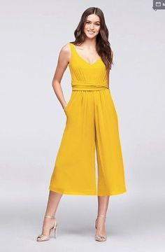 68880afe33 David s Bridal Tie-Back Crinkle Chiffon Bridesmaid Dress Jumpsuit in  Sunflower  fashion  clothing