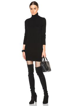 Equipment Cashmere Oscar Knit Dress in Black + Stuart Weitzman OTK thigh high black suede boots