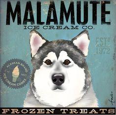 Malamute Ice Cream Company original illustration gallery wrap on canvas 12 x 12 x 1.5 gemini studio