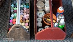 Portable toolbox storage for upside down craft paint / Tips on designing an old sign themed paint studio on FunkyJunkInteriors.net