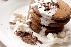 S'Mores Pancakes with Marshmallow Sauce. OMG YUM!!