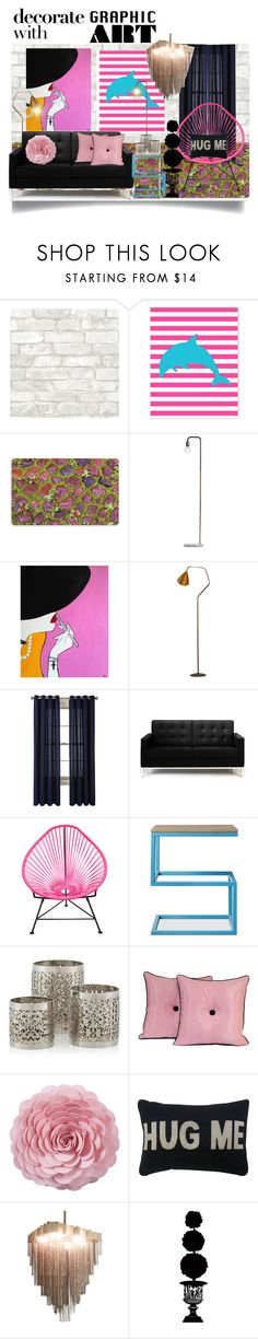 """""""Decorate with Graphic Art"""" by jeneric2015 ❤ liked on Polyvore featuring interior, interiors, interior design, home, home decor, interior decorating, WallPops, Bungalow Flooring, Karl Lagerfeld and JCPenney Home"""