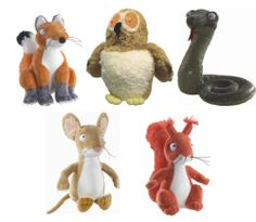 """AURORA WORLD THE GRUFFALO 7"""" SOFT TOYS - MOUSE, FOX, SQUIRREL, OWL AND SNAKE"""