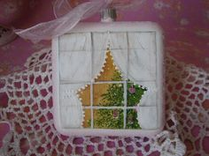 Square Glass Ornament Hand Painted Christmas Tree by pinkrose1611, $15.00