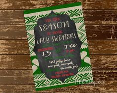 Ugly Sweater Christmas Party Invitation (Digital File - Printable) - {Ugly Sweater Party Invitation //Tis the season to rock ugly sweaters} on Etsy, $8.50