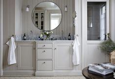 Floor Drains, Bathroom Inspo, Bathroom Ideas, Architectural Digest, Elle Decor, Traditional House, Bradford, Powder Room, Double Vanity
