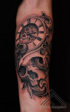 Scull and clock tattoo - done by Olafs Taube at Tattoo Frequency (Latvia)