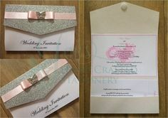 Decorative ribbon top pocket fold in white,silver glitter paper, pale pink ribbon and finished with a diamanté butterfly embellishment.  www.jenshandcraftedstationery.co.uk  www.facebook.com/jenshandcraftedstationery Hand Made Wedding stationery: Save the date, Wedding invitations, Table Plans, Place Settings, Guest Books, Post Boxes, Menus, Table Numbers/Names